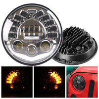 7 LED Round Projector Headlights with Amber Ring DRL Light for Jeep CJ 8 Scramble, Jeep Wrangler TJ,2007 2017 Jeep Wrangler JK