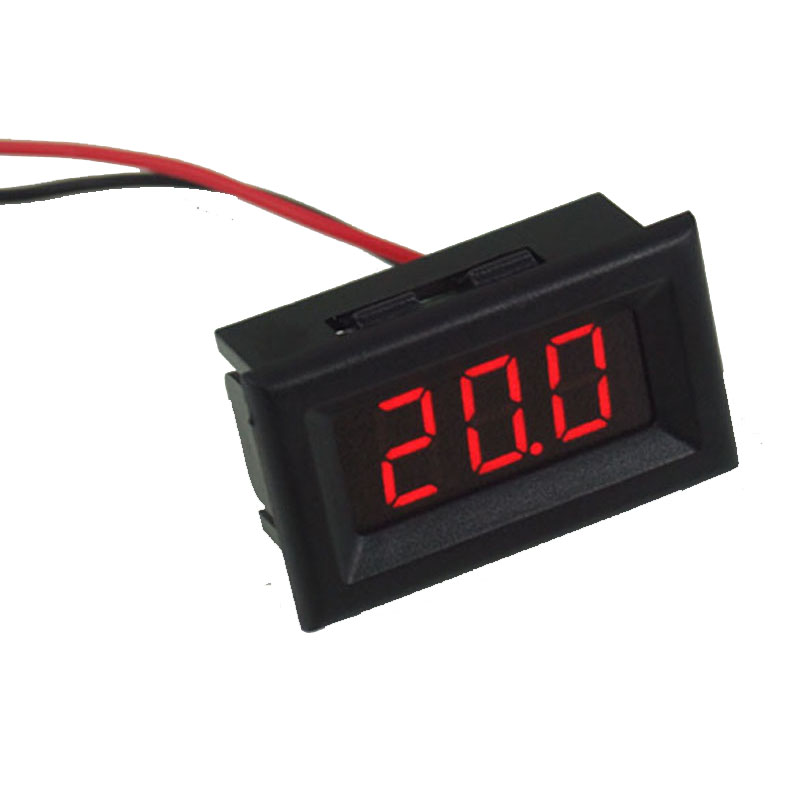 Mini Two Wires Digital Voltmeter Red LED Display DC2.5-30V Voltage Meter Voltage Detector with Reversal Protection