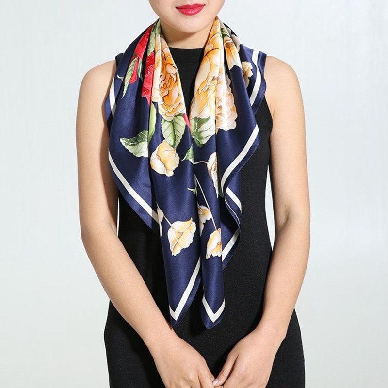 Noble Peony Printed Square Silk   Scarf   Women 90*90cm Ladies Luxury 100% Pure Silk   Scarves   &   Wraps   Shawl Bandana Hijab Foulard
