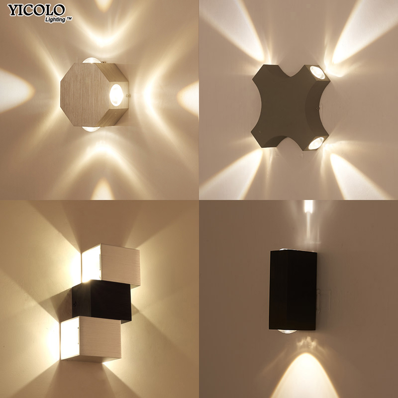 Modern Wall Lamp Up Down Aluminum Octagon LED Wall Lights For Home Lighting  Indoor Outdoor Decoration AC 85 265V