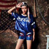 Ulzzang Korean Hip Hop Sequins Summer Women T shirt Crop Top Oversized Short Sleeve Tops Kpop Street Schoolgirl Clothing