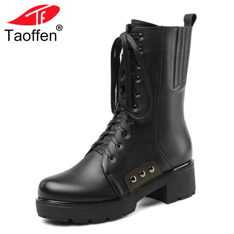 TAOFFEN Women Mid Calf Boots Winter Genuine Leather Warm Fur Shoes Woman Lace Up Zipper Platform High Heel Boots Size 34-39 taoffen women genuine leather flats snow boots women metal buckle mid calf boots warm fur shoes for women footwears size 34 39