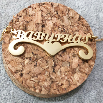 цена Custom Heart Statement Name Necklace Pendant Gift For Wedding Party Personalized Name Necklace In Gold Filled Bijoux онлайн в 2017 году