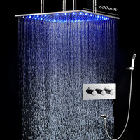 Bath Faucet Shower Quality LED Shower Kit Ceiling Big Rain Shower Panel Tap High Flow 2 Way Diverter Mixing Valve