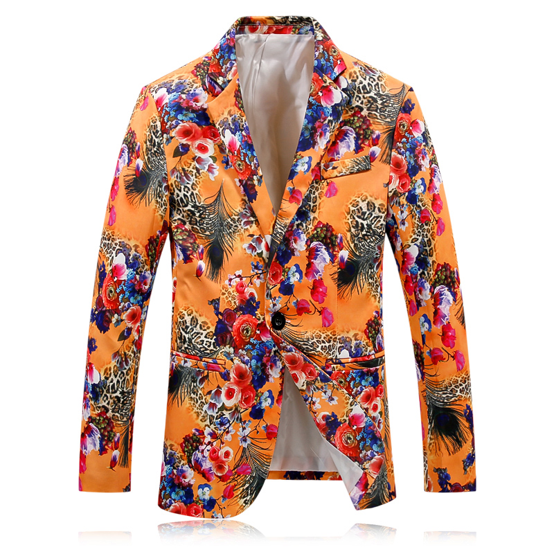 Casual Suits for Men Flower Personality Blazer Business Dress Slim Fit High Quality Large Size Male