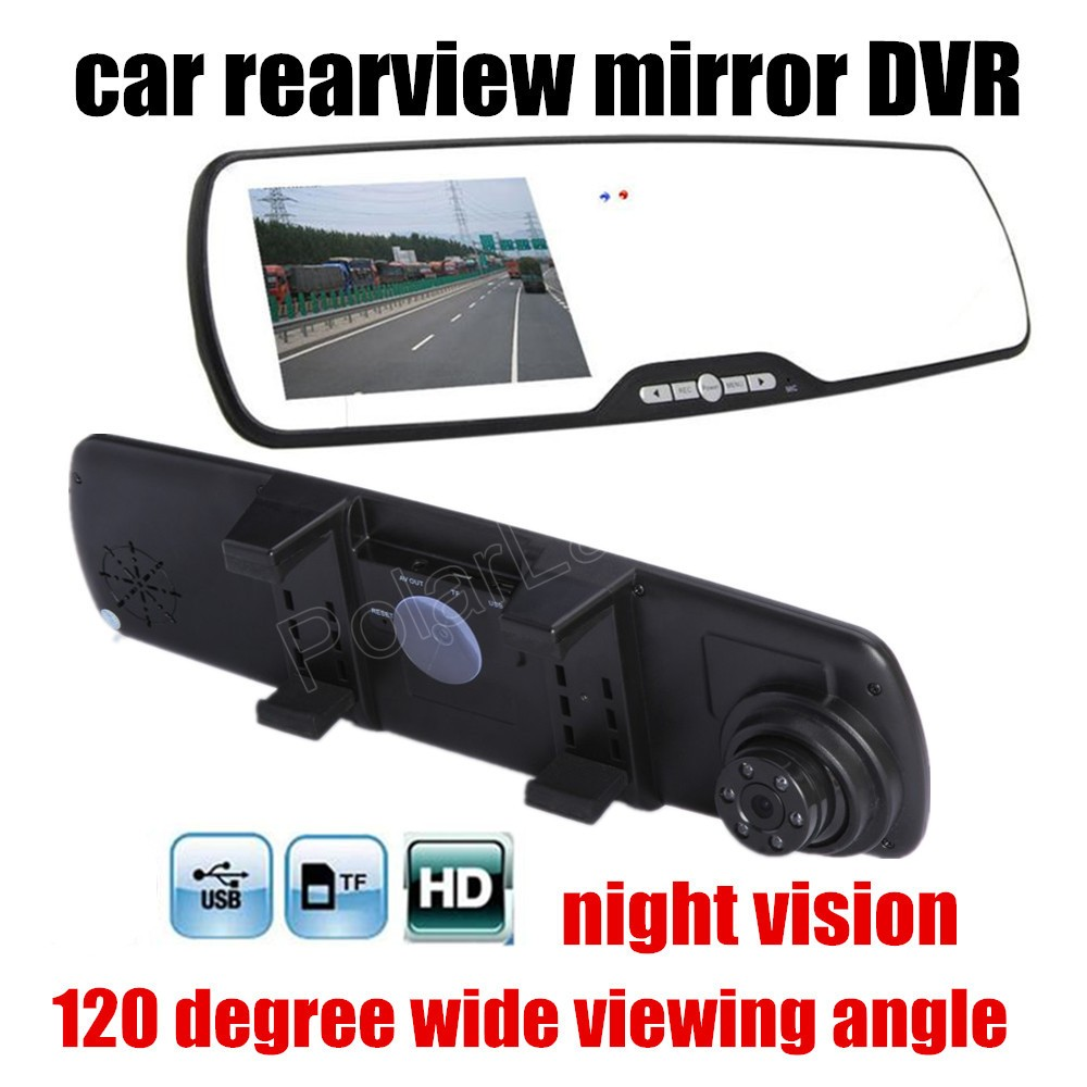 2.7 inch HD Car Review Mirror Digital Video Recorder 120 degree Wide Angle Night Vision Motion Detection Car DVR image