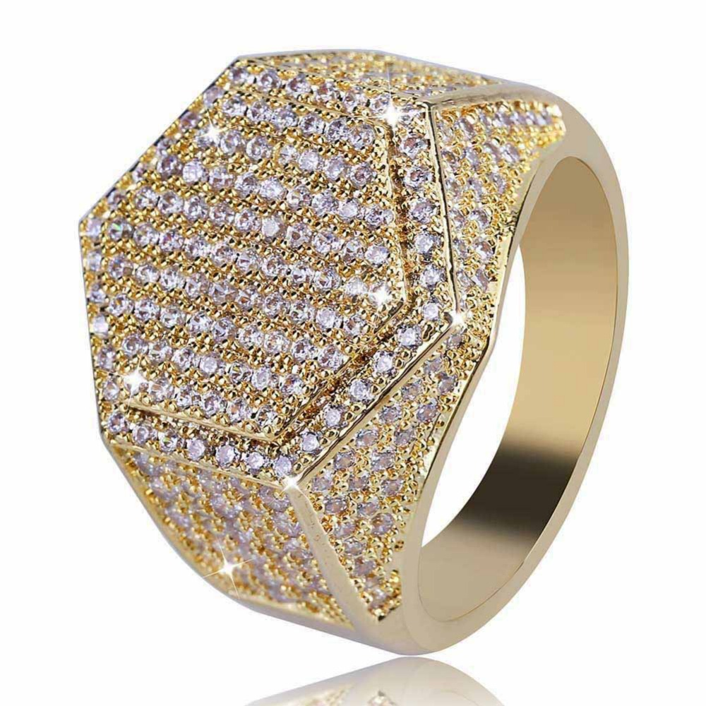 Mens Gold Hexagon Ring Fashion Bling Cubic Zirconia Fully Iced Out Band Mirco Pave Hip hop CZ sexangle Bling Finger Rings