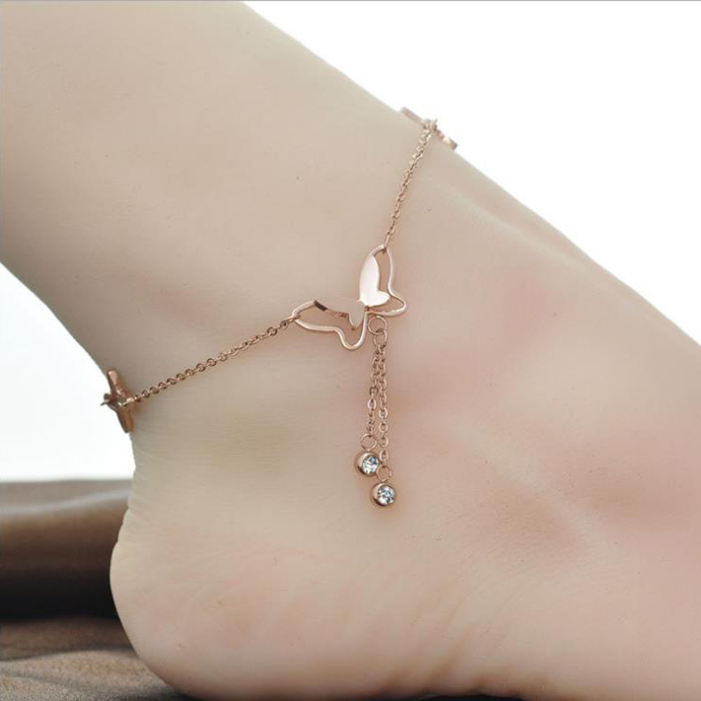 korean fashion charm rose gold color butterfly rhinestone sandal