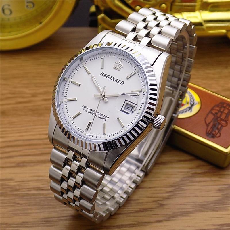Hong Kong Luxury Brand REGINALD Watches Women Men Watches Silver Stainless Steel Watch Waterproof Quartz Wristwatch Clock