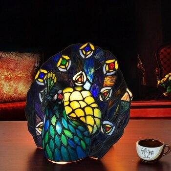 النمط الأوروبي تيفاني الفن الزجاج الطاووس الجدول مصباح التايلاندية فينيكس بار غرفة المعيشة غرفة الطعام غرفة نوم مصباح للزينة