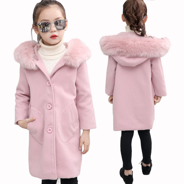 82e96bc3f Girls Woolen Coat 2018 New Winter Girl Warm Coat Kids Big Fur Collar ...