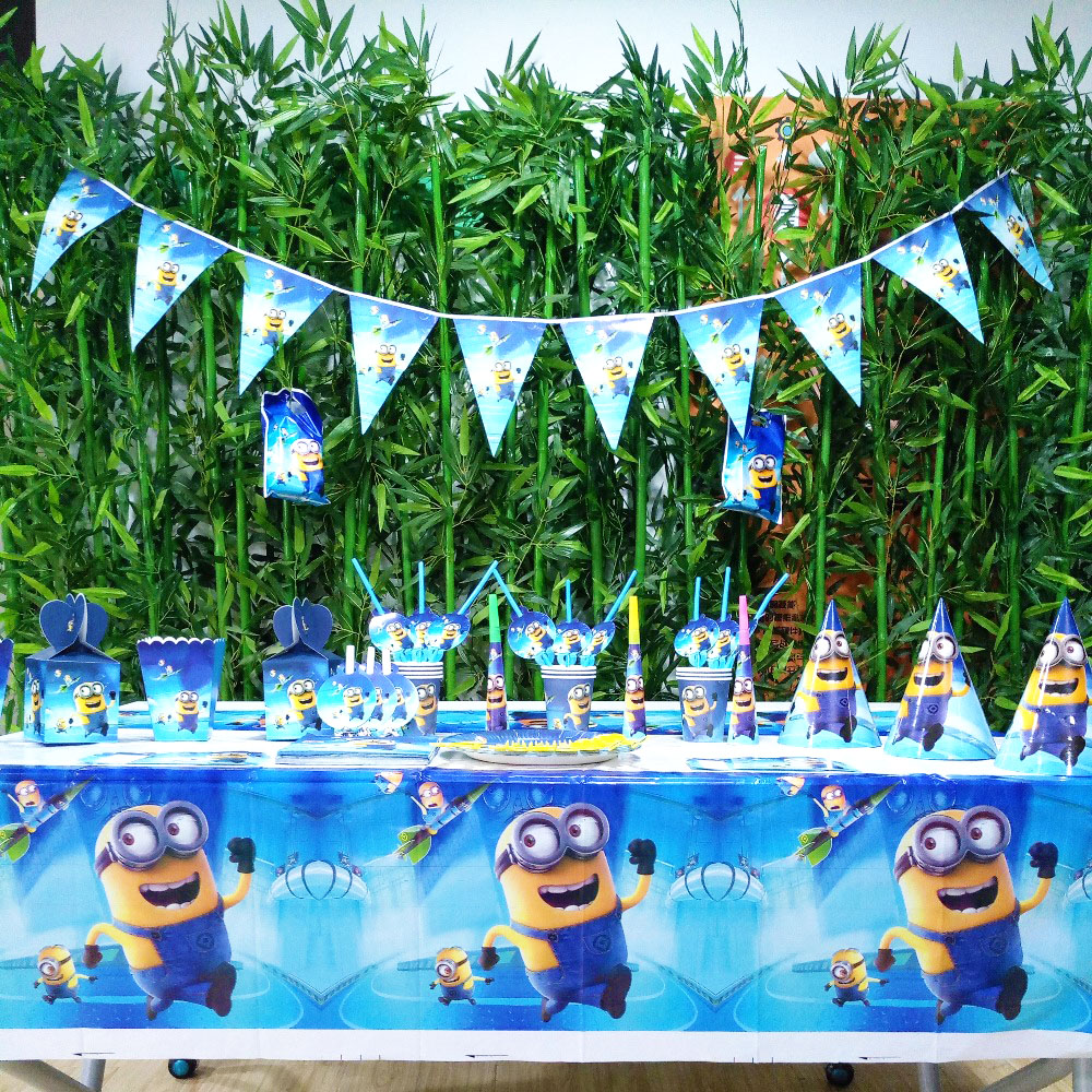 132pcs/bag Flags Tablecloth Straws Cups Plates Minions And Other Party Supplies Kids Birthday Decoration favors