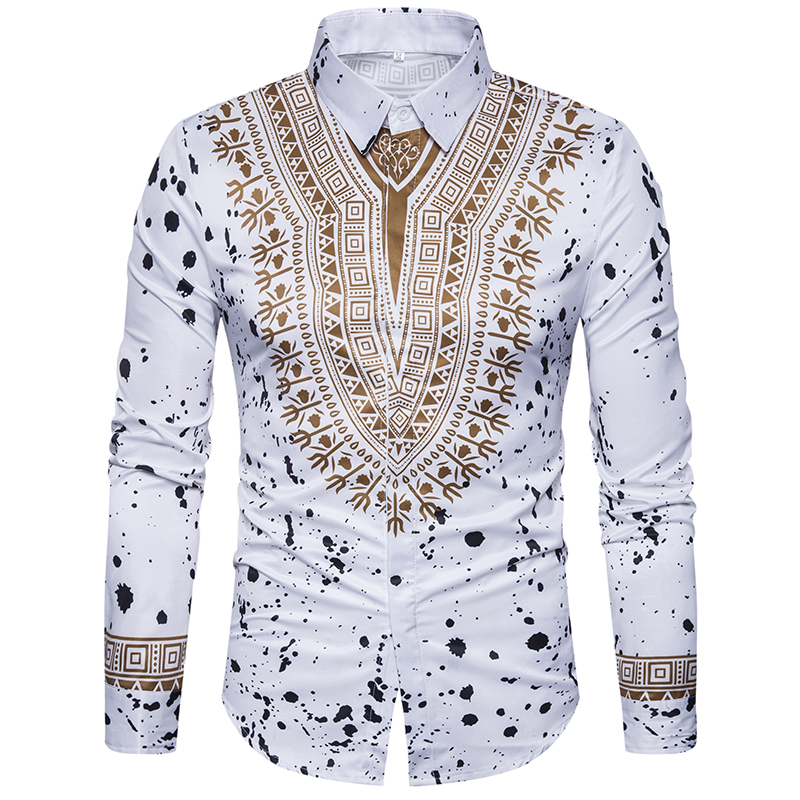 New tops men's casual shirt 3D National style printing Floral pattern shirts men fashion Standard Edition long sleeve Shirt 3XL-in Casual Shirts from Men's Clothing