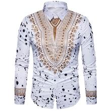New tops mens casual shirt 3D National style printing Floral pattern shirts men fashion Standard Edition long sleeve Shirt 3XL