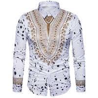 New tops men's casual shirt 3D National style printing Floral pattern shirts men fashion Standard Edition long sleeve Shirt 3XL