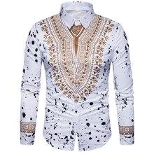 Nuevo tops camisa de los hombres de 3D estilo nacional de impresión de patrón Floral camisas de moda de los hombres de la edición estándar camisa de manga larga 3XL