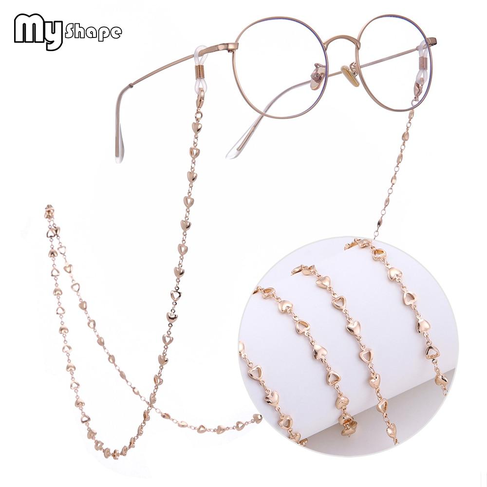 My Shape 78cm Heart Hollow Eye Glasses Chain Gold Silver Rose Plated Sunglass Beads Cord Eyeglass Women Eyewear Accessory