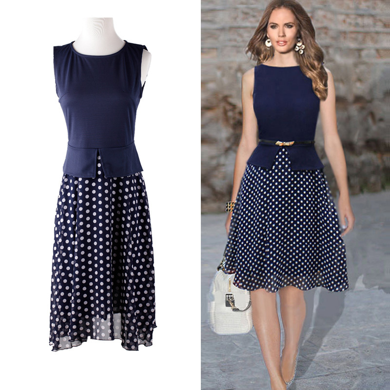 Summer Women Clothes Retro Style Navy Women Dress Sleeveless O ...