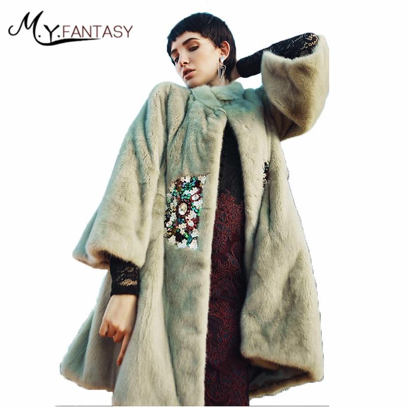 M.Y.FANSTY 2017 Shuba Women's Winter Flare Sleeved Real Fur Coat Shawl Mink Coats Mandarin Collar Sequins Medium Loss Mink Coats