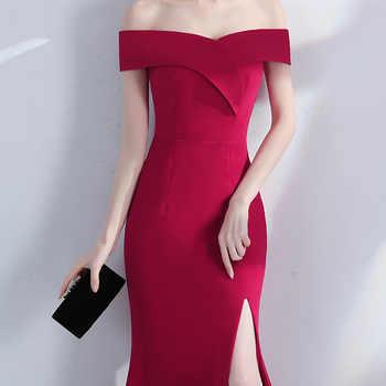 Off Shoulder Royal Blue Evening dress Girls Wedding Party Dress Prom Gown Dubai Long zipper bridal Dresses slit Robe De Soiree