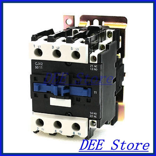 380V 50/60Hz Coil 3 Phase DIN Rail Mounting CJX2-5011 Type 1NO+1NC AC Contactor new a8 3 three frame a8 function of supporting frame 86 outlet switch combination surface box