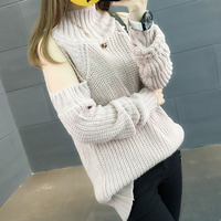 Women sweater bare shoulder 2018 new autumn Korean style female pullover fashion loose semi high collar sweater teenage girl