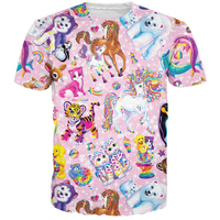 Cute Cartoon Tiger/Kitty Cat/Husky/Doge/Horse/Polar bear/Dolphin/Deer/Rainbow Prints Men Women 3D t shirt Pink Tees CTE-299