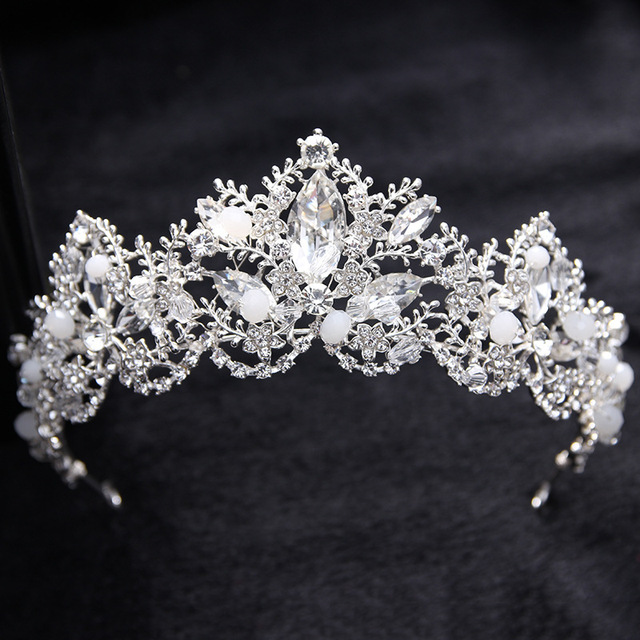Silver Luxury Vintage Wedding Queen Princess Large Crowns Tiaras Pageant Prom Bridal Rhinestone Baroque Crown Hair