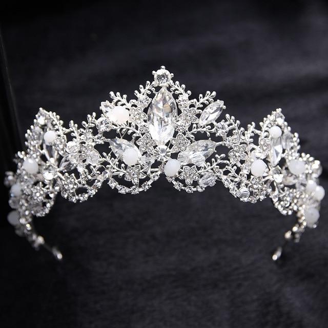 Silver Luxury Vintage Wedding Queen Princess Large Crowns Tiaras Pageant Prom Bridal Rhinestone Baroque Crown Hair