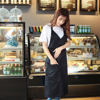 Fashion Halter Short Sleeveless Apron Home Furnishing Kitchen Apron Cute Coffee Shop Smock Adult Custom