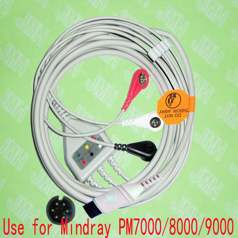 Compatible 6pin Mindray PM9000, PM8000,PM7000 And Goldway ECG Machine The One-piece 3 Lead Cable And Snap Leadwire,IEC Or AHA.