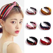 Little Bee Striped Ribbon Hairband 7 Colors High Elastic Butterfly Knot Headband Fashion Hair Bands Head Accessories