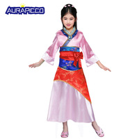 Little Girls Mulan Costume Chinese Princess Dress Up Outfit Tang Dynasty Traditional Fancy Dress Halloween Costumes for Kids