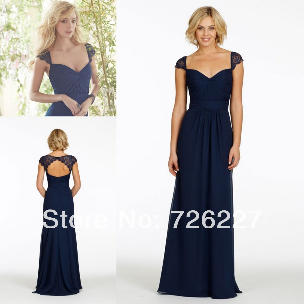 Dark navy blue elegant long bridesmaid dresses with cap for Navy blue wedding dress