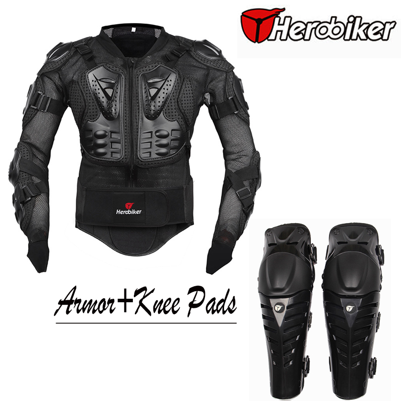 Motorcycle Riding Body Armor Jacket with Knee Pads Set Motorcross Off-Road Dirt BIke Racing Protectors Protective Gear herobiker armor removable neck protection guards riding skating motorcycle racing protective gear full body armor protectors
