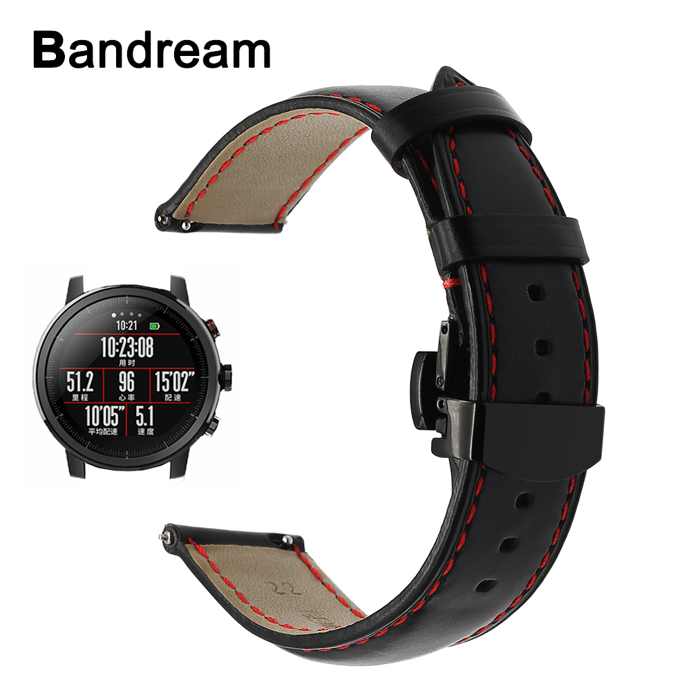 Italy Genuine Leather Watchband 20mm 22mm for <font><b>Amazfit</b></font> 1 <font><b>2</b></font> 2S Xiaomi Huami Bip Quick Release Watch Band Butterfly Buckle Strap image