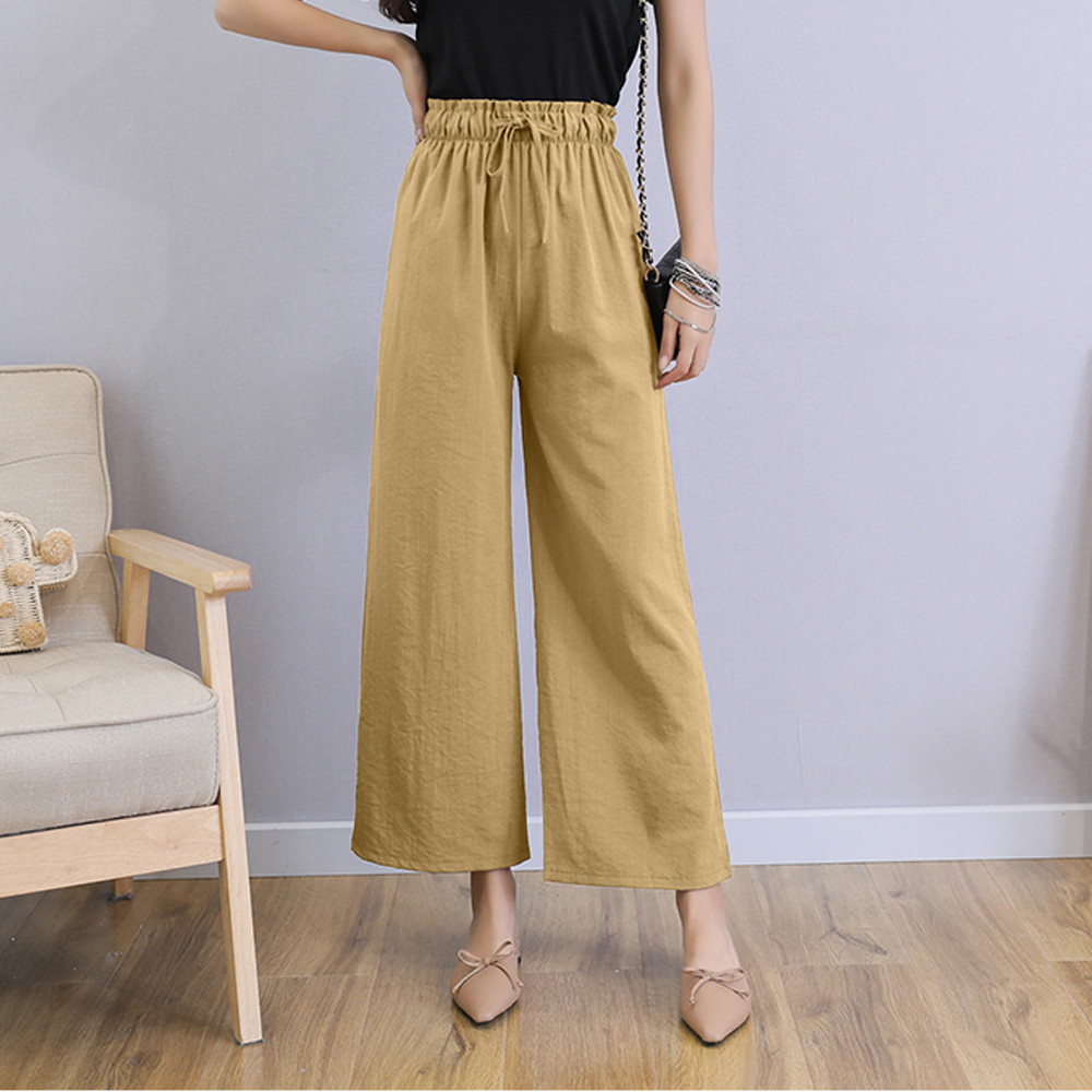 Woman   Wide     Leg     Pants   Summer Fashion Loose Drawstring Ankle-Length   Pants   Female Trousers Plus Size Cotton Casual Ladies   Pants