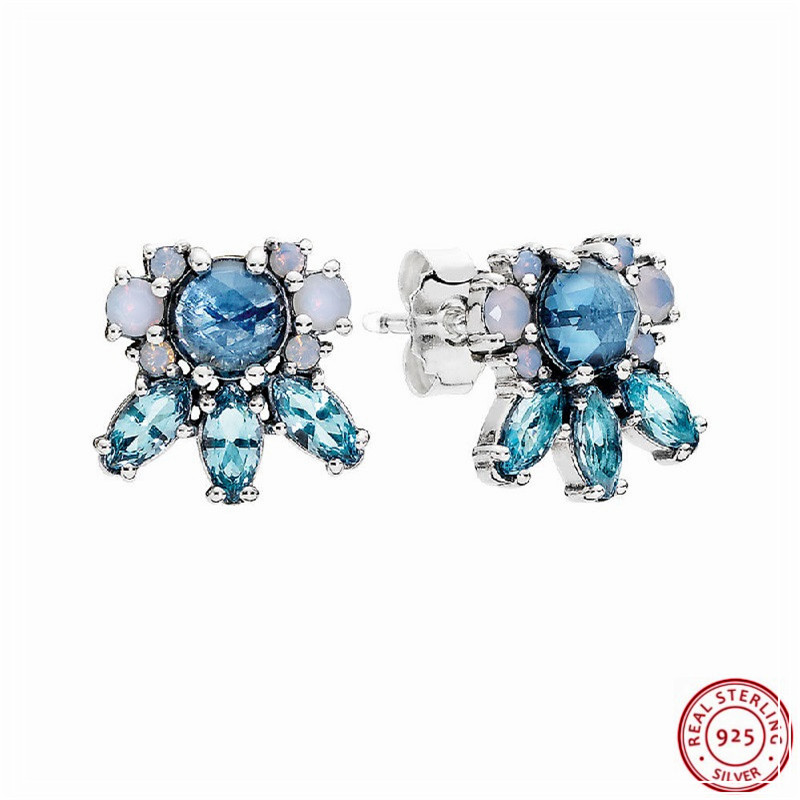 Faceted Icicle Shape Chilly Blue Crystal Patterns Of Frost Stud Earrings For Women Popular 925 Sterling Silver Jewelry Fle075 Aesthetic Appearance