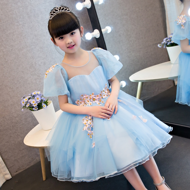 2017 New Korean Sweet Cute Baby Girls Blue Color Summer Princess Dress Kids Wedding Birthday Party Pageant Embroideried Dress 2018 new korean sweet autumn summer children baby birthday wedding party prom dress kids girls pink color flowers pageant dress
