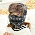 HT534 Winter Mask Bomber Hat Snow Flowers Russian Ushanka Hat Outdoor Earflap Russian Fur Hat Classic Trapper Hats for Women
