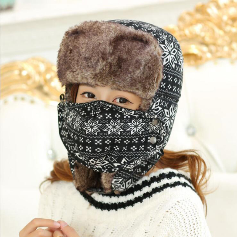 HT534 Winter Mask Bomber font b Hat b font Snow Flowers Russian Ushanka font b Hat