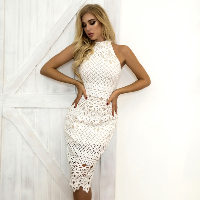 White Lace Halter Short Cocktail Dresses Party Graduation Women Sexy Prom Robe Semi Formal Dress 2019