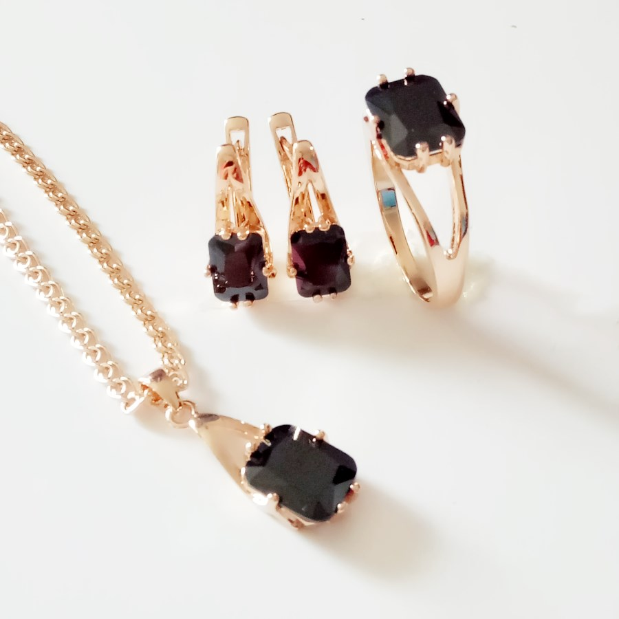 1Set New Rose Gold Color Jewelry Fashion Wedding Jewelry Women Black Square Cubic Zircon Earring +Ring+Necklace Jewelry Sets
