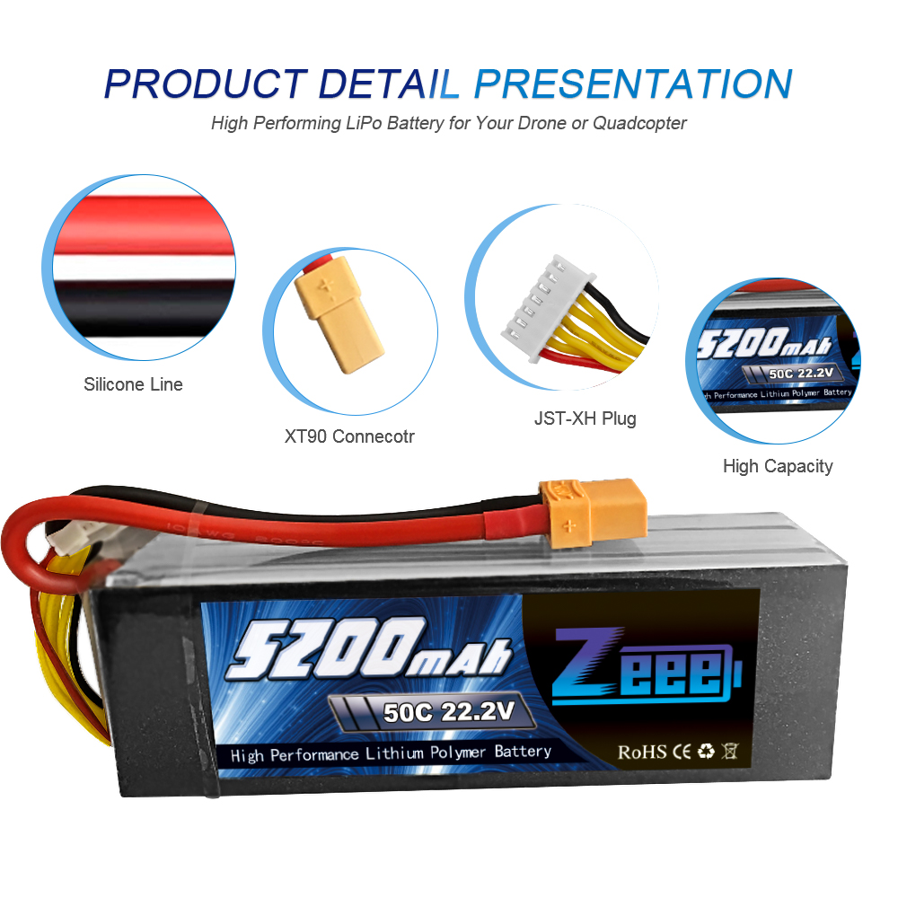 Zeee RC LiPo Battery 50C 5200mAh 22 2V 6S XT90 LiPo Battery with XT60 EC5 For RC Helicopter Car Boat Airplane Quadcopter FPV in Parts Accessories from Toys Hobbies