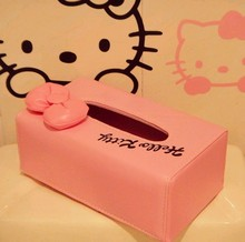 New big facehello kitty modeling three-dimensional bow family automotive interiors pu leather tissue box