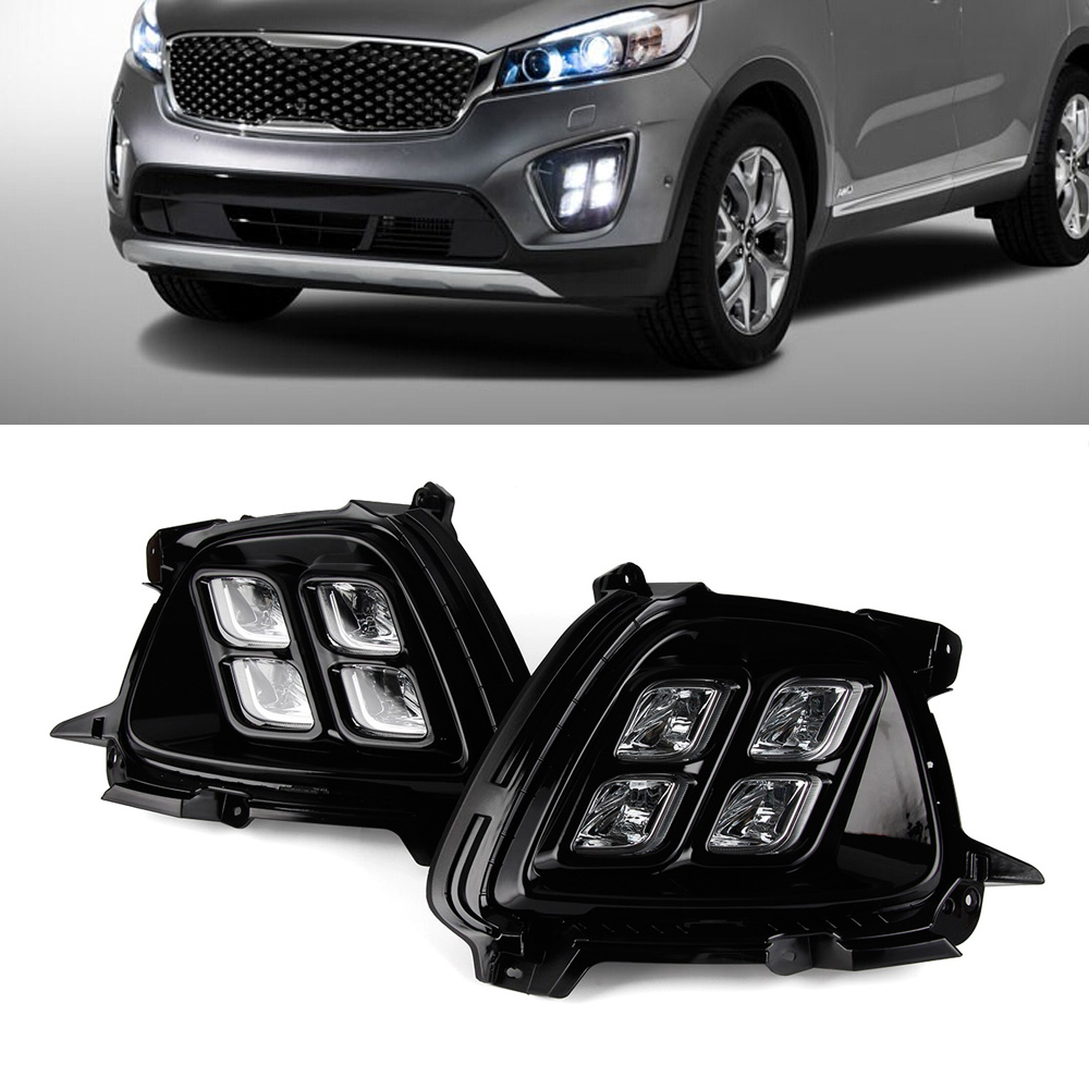 Car LED Lights Driving DRL Auto White Daytime Running Light Fog Lamps For KIA Sorento 2015-2016 цена