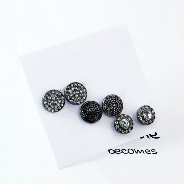 3 Pairs Women Black Crystal Round Stud Earrings Set For Punk Diamante