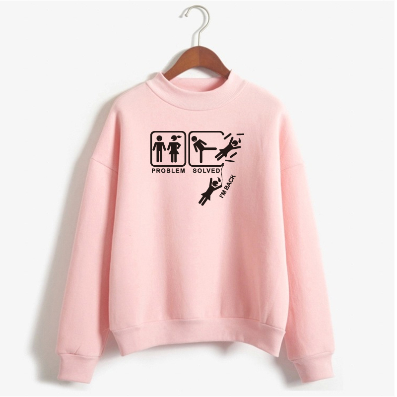 Problem Solved Funny Sweatshirt Casual Hoodies Long Sleeve Pullover Fleece Printed Sweatshirt Women Pullover Plus Size NSW-12436