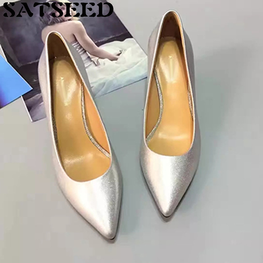 Women Shoes Pumps Genuine Leather Simple Plain All-match Spring White-collar Workplace Pointed Toe Slip On Fashion Shallow New hot sale 2016 new fashion spring women flats black shoes ladies pointed toe slip on flat women s shoes size 33 43
