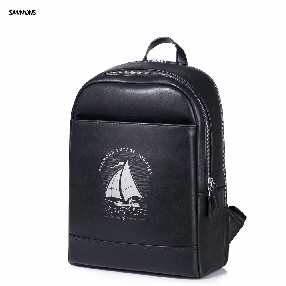 ФОТО 2017 SAMMONS New Brand Design Fashion Voyage Journey Series Embossing PU Leather Casual College Laptop Travel Men Backpacks Bag